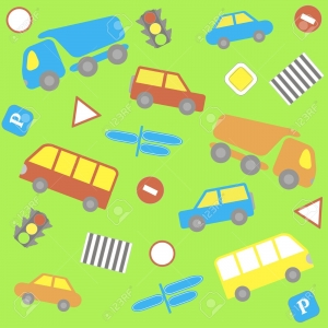 21160229-background-with-cartoon-cars-buses-traffic-lights-and-road-signs-Stock-Vector